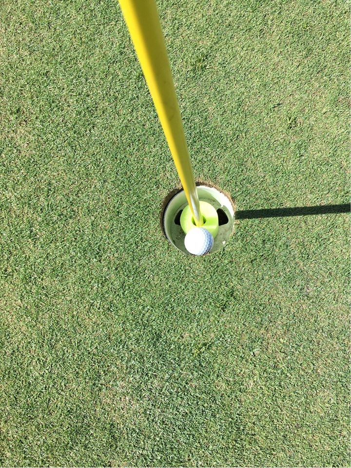 golf ball sitting in the hole